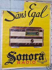 AFFICHE ANCIENNE LITHOGRAPHIE RADIO SONORA SANS EGAL