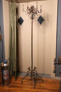 Antique Coat Rack Hall Tree Cast Iron Dragon legs Victorian Entryway Hallway