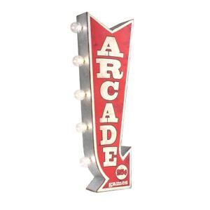 Retro 3D LED Arcade Marquee Arrow Sign Bar Pub Man Cave Decor Game Room Wall Art