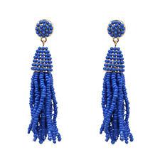 Boucles d`Oreilles Mini Perle Pompon Tassel Fait Main Artisanal Bleu Vif AA21
