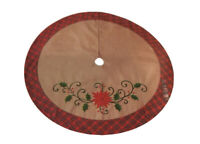 """NEW December Home 48"""" Brown Canvas Christmas Tree Skirt With Red Flower  Plaid"""