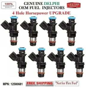 NEW 8 Fuel Injectors 4HOLE HP UPGRADE OEM DELPHI for Chevy Cadillac Buick V8
