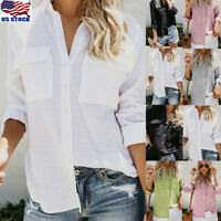 Women Cotton Linen Casual Solid Tops Long Sleeve Shirt Blouse Button Down Tops