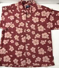 Chaps Ralph Lauren Hawaiian Aloha Tropical Reverse Print Hibiscus Shirt Men's XL