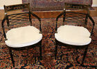 Stunning Pair of Ebony & Gold Chinoiserie Japanned Arm Chairs With White Fabric