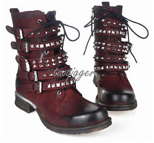 Womens Ankle Boots Vintage Rivet Sheep Leather Motocycle Biker Shoes All Uk Size