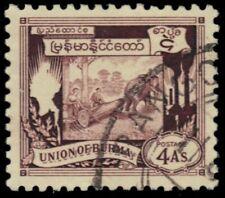 "BURMA 110 (Mi111) - Cutting Teak Logs with Elephants ""1949 Print""  (pb22211)"