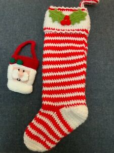 Beautiful handmade with love traditional knitted large Christmas stocking