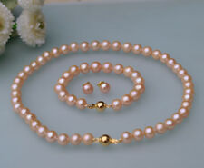 Set 8-9mm pink round Freshwater genuine cultured Pearl necklace bracelet earring