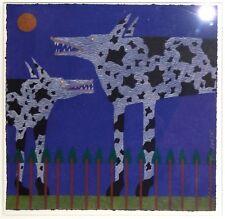 Vintage Serigraph Print by Gene Brown Big Shep Dogs-Wolves Southwest 1995