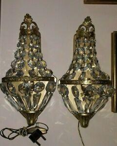Coppia Antiche Appliques impero in ottone cristalli pair sconces