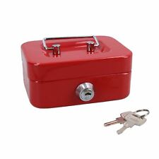 """More details for 4.5"""" petty cash box money coin tin deposit security kids money box 2 keys red"""