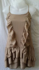 Bebe Size 8 XS Mini Ruffle Dress Honey-Brown Casual Evening Cocktail Party Club