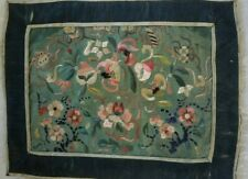 "Antique Chinese Embroidered Silk Textile, Bats & Peaches, 19th C.  8"" x !0"""
