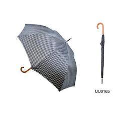 KS Brands UU0165 Mens Checked Walking Umbrella Wooden Crook Handle - Black/White