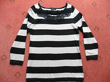 Women's Papaya Beige/Black 3/4 sleeved striped Jumper with lace design , size 10