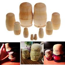 5pc Unpainted DIY Blank Wooden Embryos Russian Nesting Dolls Matryoshka Toy Gift