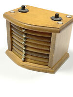Vintage MCM Wooden Coaster Set Drawers Drink Holders Home Decor Retro 8 Pieces