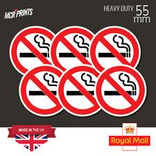 6 x No Smoking Stickers 55mm waterproof vinyl signs window car taxi van shop