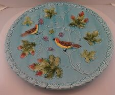 "11"" Vintage Black Forest GERMANY BIRDS MAPLE LEAFS GRAPES MAJOLICA TURQUOISE"