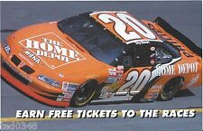 """2002 TONY STEWART #20 HOME DEPOT """"EARN FREE TICKETS TO THE RACES"""" POSTCARD!"""