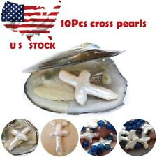 New 10Pcs Akoya Freshwater Oysters with Cross Shape Pearl US Stock DIY jewelry