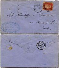 PENNY RED 1871 Plate 121 SHIP BROKER CRAVEN + CO OVAL HANDSTAMP