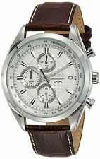 Seiko Chronograph SSB181 Silver Tone Dial Brown Leather Band Men's Watch