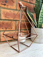 Vintage Geometric Terrarium Style Metal Copper Tea Light Candle Votive Holder