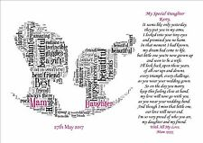 Personalised Wedding Day Poem Gift From MAM Mother of Bride to Daughter Mom Mum