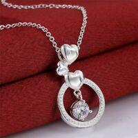 WOMEN925 Silver Jewelry Cute Charm Austrian Crystal Fashion Wedding Necklace