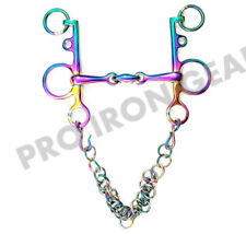 Rainbow Color Pelham Double Jointed Horse Bit With Oval Link  Stainless Steel
