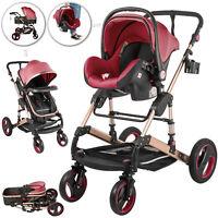 Baby Stroller 3 in 1 Pram Foldable Pushchair Shake-Proof Car Seat Reversible