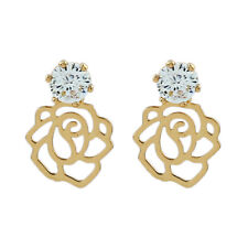Rose Crystal Yellow Gold Filled Women Jewelry Party Stud Earrings Gemstone ME114