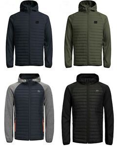 Mens JACK & JONES Quilted Padded New Fashion Jackets Windproof Sale Size XS-XXL