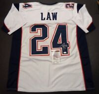 Ty Law New England Patriots Autographed signed White Jersey XL JSA-COA
