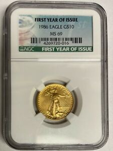1986 $10 GOLD AMERICAN EAGLE ✪ NGC MS-69 ✪ 1/4 1ST YEAR ISSUE UNC BU