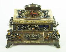 Rare Silver, Gold Plated & Enamel Singing Bird Box Music Box Automaton
