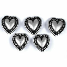 Metal Heart Buttons Vine Border Antique Silver Colour – Choice of Size - Gothic 12mm 5