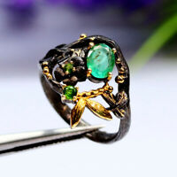 NATURAL 5 X 7 mm. OVAL GREEN EMERALD & CHROME DIOPSIDE RING 925 STERLING SILVER