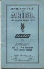 Ariel Motor Cycles ilustrado líder de lista de piezas y Arrow 250cc Twin 1961