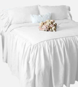 """Dust Ruffle Bed Skirt/Bed Cover 25"""" drop 400 TC Egyptian Cotton White - FS"""