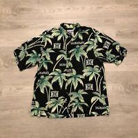Reyn Spooner Sports Mens Black University of Hawaii Rayon Hawaiian Shirt Size L