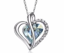 Blue Austria Crystal Heart & Rhinestone Stud Charm Pendant Statement Necklace