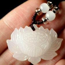 Fashion Charm Women Hand-Carved White Jade Lotus Pendant Jewelry Gift Popular