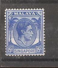 SINGAPORE 1948 15c ultramarine (perf 14)  mh