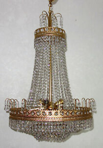 Wunderschöne  Messing-Bleikristall  Kronleuchter, Lüster 6 Flammig