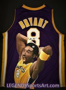 """Kobe Bryant Los Angeles LAKERS """"Hand Painted"""" Autographed Jersey 1 of 1"""