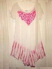 OSFM  Dress Cover Up White Pink  Embroidery Eyelet SS Scoop Neckline MWT  XL 1X