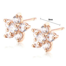 Vintage Women Flower Rose Gold Plated Crystal Stud Earrings New Fashion Jewelery